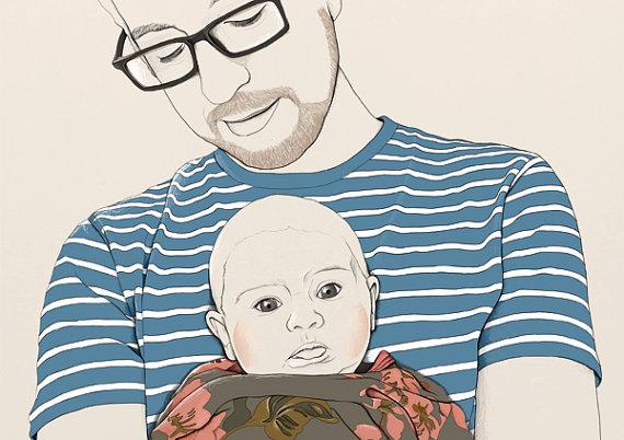 Abby_Wright_Custom_Portait_Illustration_Baby_Father_Illustrator